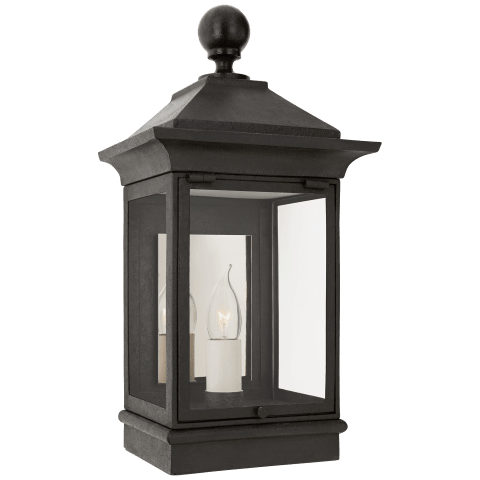 Rosedale Petite 3/4 Wall Lantern in French Rust with Clear Glass