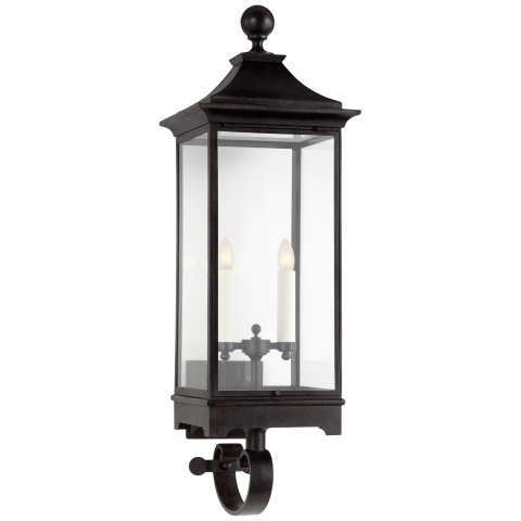 Rosedale Medium Bracketed Wall Lantern in French Rust with Clear Glass