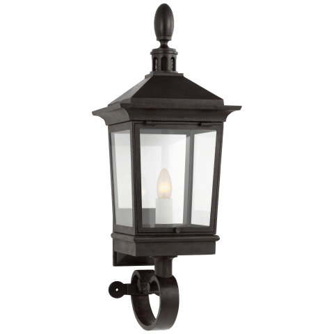 Rosedale Classic Petite Bracketed Wall Lantern in French Rust with Clear Glass