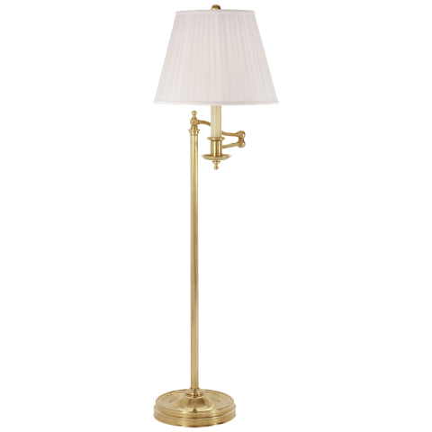Stockton Swing Arm Floor Lamp in Natural Brass with Silk Shade