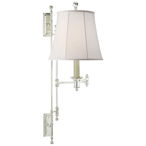 Kerry Swing Arm Wall Lamp in Polished Silver with Silk Shade