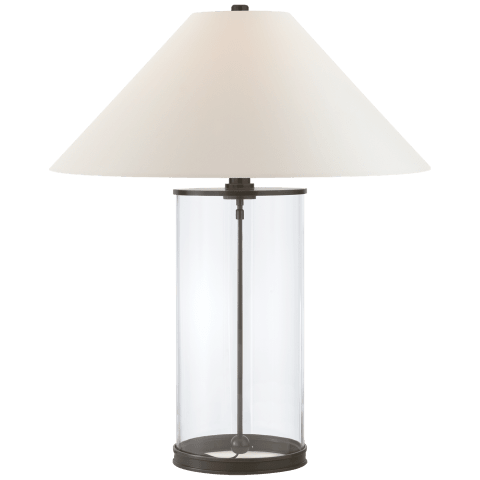 Modern Table Lamp in Bronze with White Paper Shade