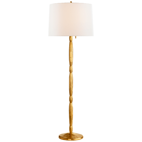 Hollis Floor Lamp in Natural Brass with Linen Shade