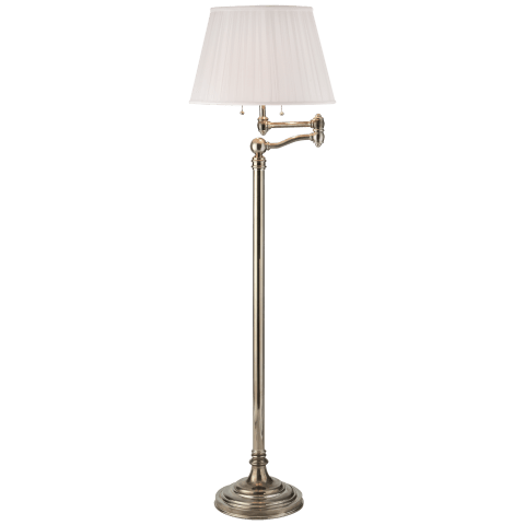 Sargent Swing Arm Floor Lamp in Butler's Silver with Silk Shade
