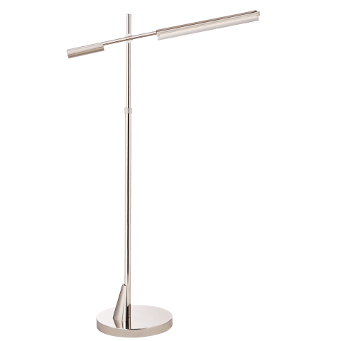 Daley Adjustable Floor Lamp in Polished Nickel with Clear Acrylic