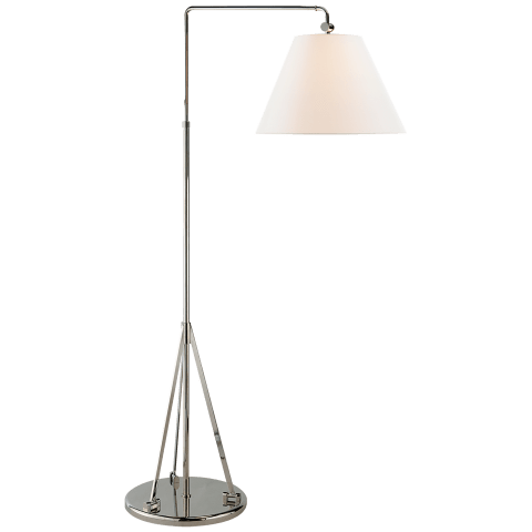 Brompton Swing Arm Floor Lamp in Polished Nickel with Linen Shade