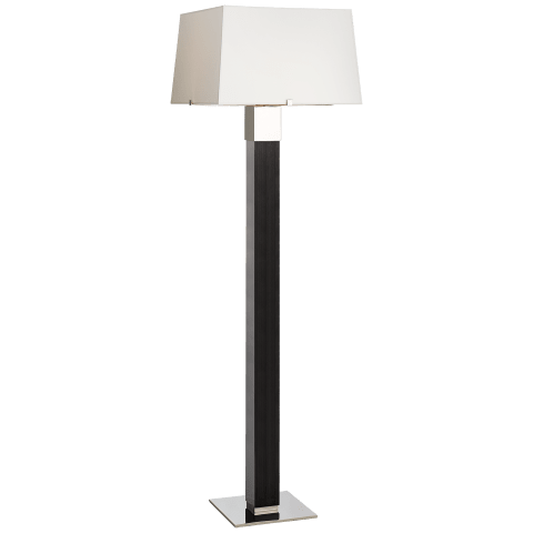 Hardy Floor Lamp in Black Ebony and Polished Nickel with Percale Shade