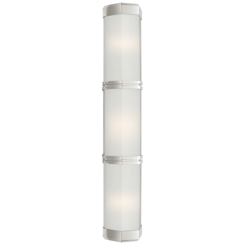 Berling Triple Wall Sconce in Polished Nickel with Frosted Glass