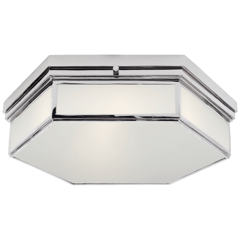 Berling Large Flush Mount in Polished Nickel with Frosted Glass