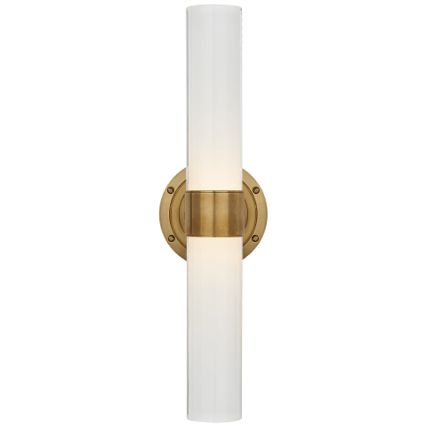 Jones Medium Double Sconce in Natural Brass with White Glass