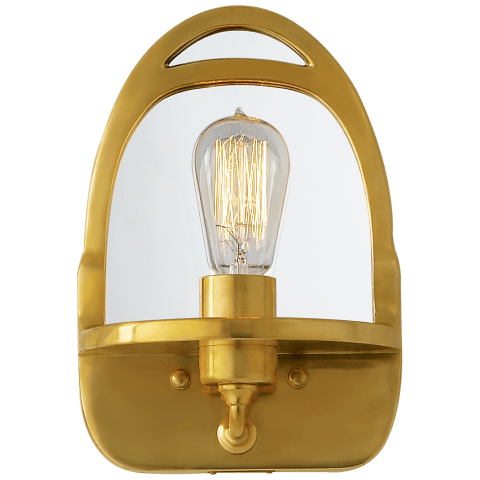 Westbury Mirrored Sconce in Natural Brass