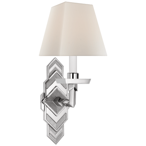 Alexis Sconce in Polished Nickel with Percale Shade