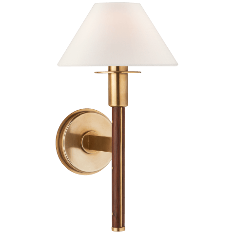 Radford Small Sconce in Natural Brass and Natural Rift Oak with Linen Shade