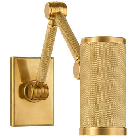Barrett Mini Double Arm Bed Light in Natural Brass