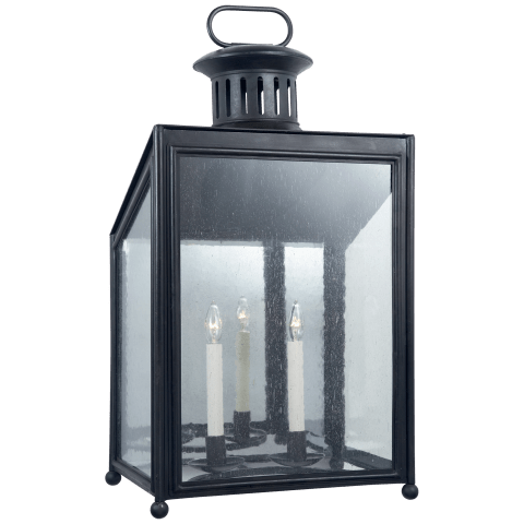 Mills Large Wall Lantern in Aged Iron with Restoration Glass