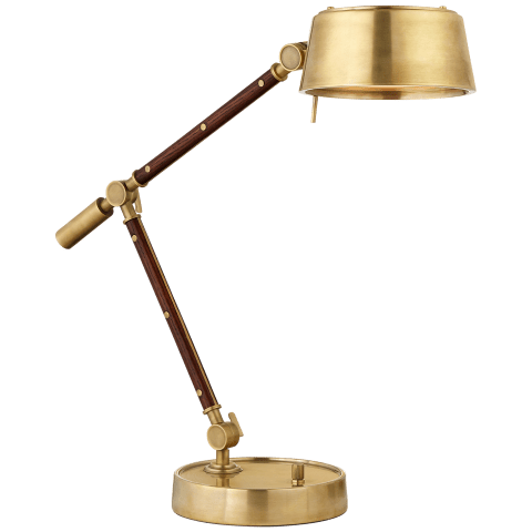 Alaster Task Lamp in Natural Brass and Natural Rift Oak