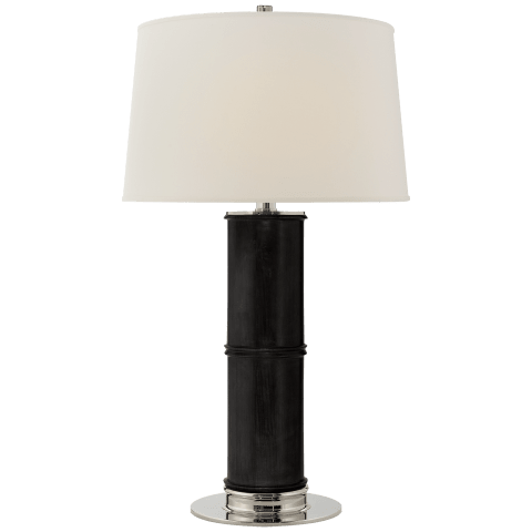 Healey Table Lamp in Ebonized Oak with Linen Shade