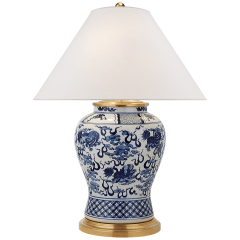 Foo Dog Medium Table Lamp in Blue and White Porcelain with Silk Shade