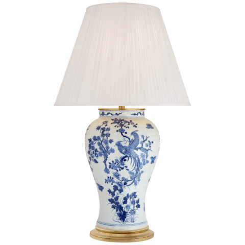 Blythe Large Table Lamp in Blue and White Porcelain with Silk Pleated Shade