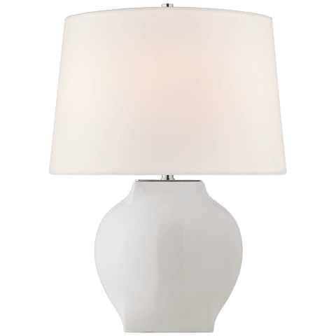 Ilona Medium Table Lamp in White with Linen shade
