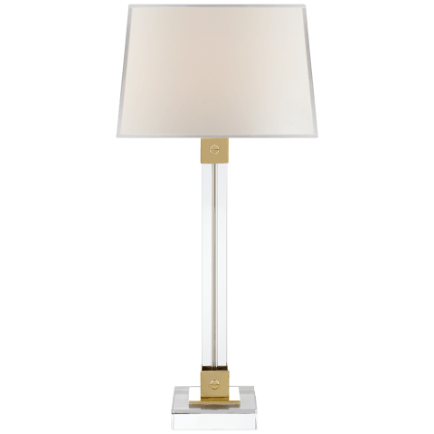 Varick Table Lamp in Crystal and Natural Brass with Percale Shade