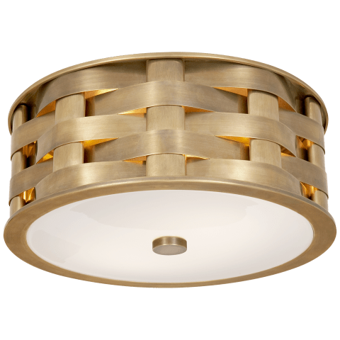 Ella Woven Small Flush Mount in Natural Brass with White Glass