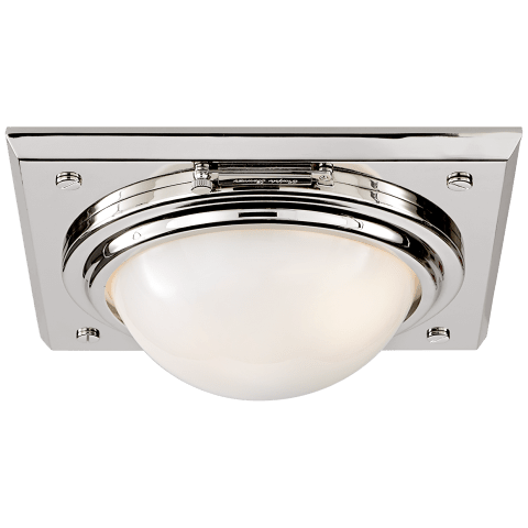 Wainscott Small Flush Mount in Polished Nickel with White Glass