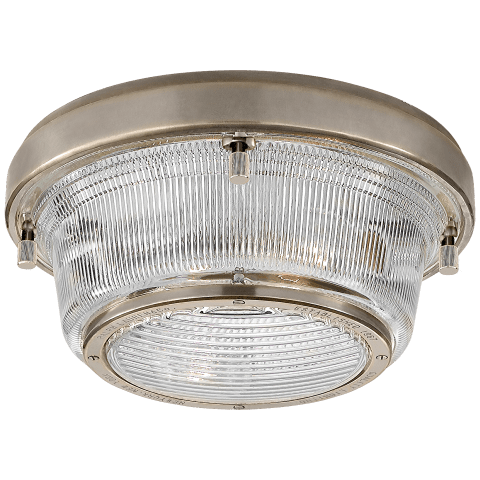 Grant Medium Flush Mount in Antique Nickel with Industrial Prismatic Glass