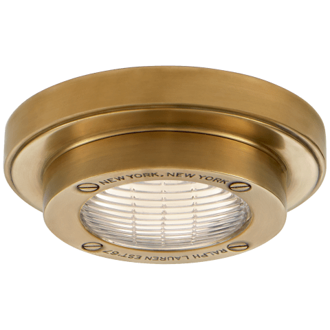 """Grant 4.5"""" Solitaire Flush Mount in Natural Brass"""