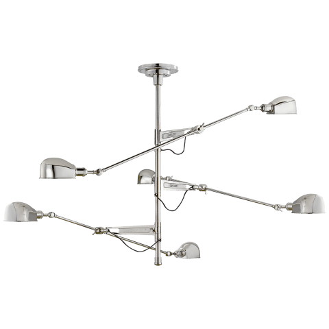 RL '67 Extra Large Triple Arm Chandelier in Polished Nickel