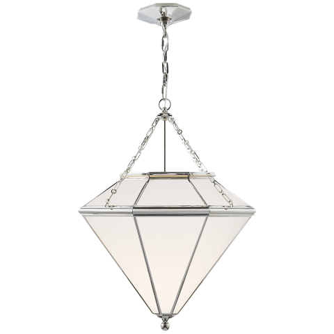 Cannes Pendant in Polished Nickel with White Glass