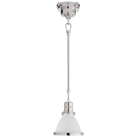 Fulton Mini Pendant in Polished Nickel with White Enamel Shade