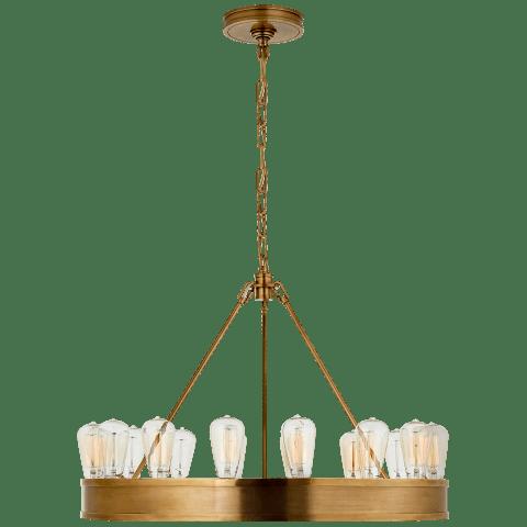 "Roark 30"" Modular Ring Chandelier in Natural Brass"