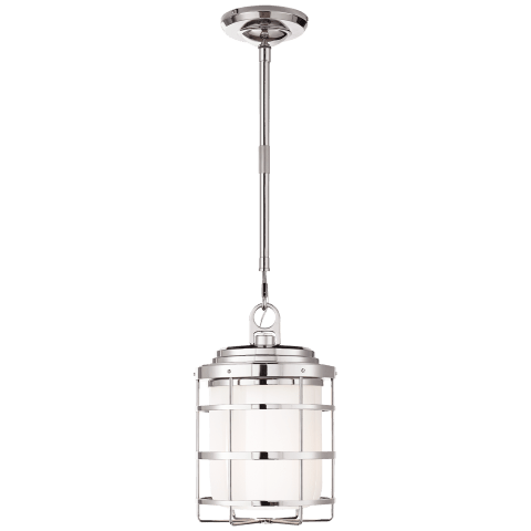 Crosby Large Lantern in Polished Nickel with White Glass
