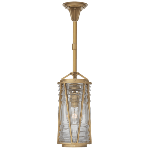 Chatham Mini Pendant in Natural Brass with Clear Glass