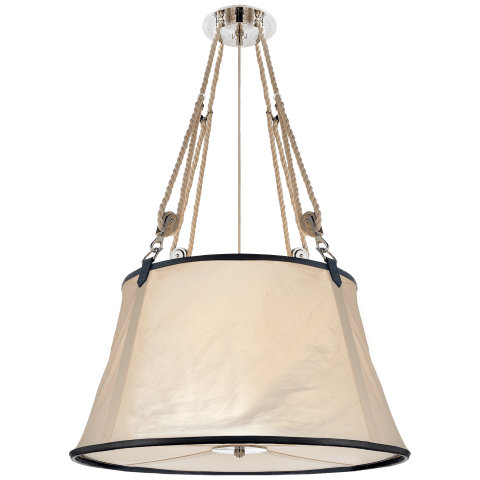 Miramar Large Hanging Shade in Polished Nickel and Chocolate Leather Trim with Linen Shade