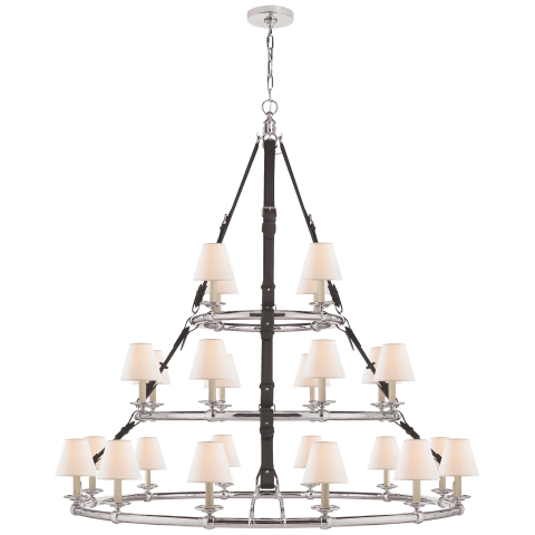 Westbury Triple Tier Chandelier in Polished Nickel and Chocolate Leather with Linen Shades