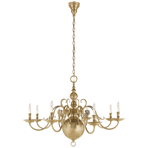 Lillianne Single Tier Chandelier in Natural Brass