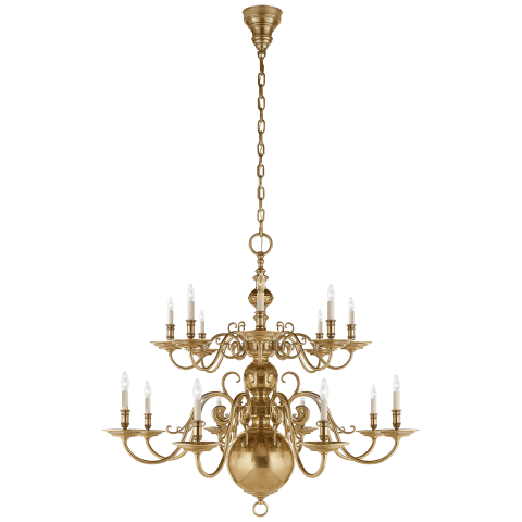 Lillianne Double Tiered Chandelier in Natural Brass