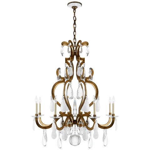 Marie Chandelier in Gilded Iron with Crystal, Quartz, and Glass