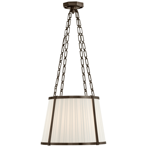 Windsor Medium Hanging Shade in Bronze with Boxpleat Silk Shade