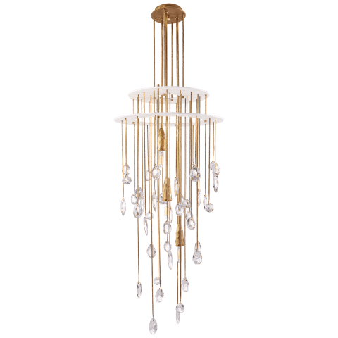 Hailee Small Sculpted Chandelier in Natural Brass and Plaster White with Crystal