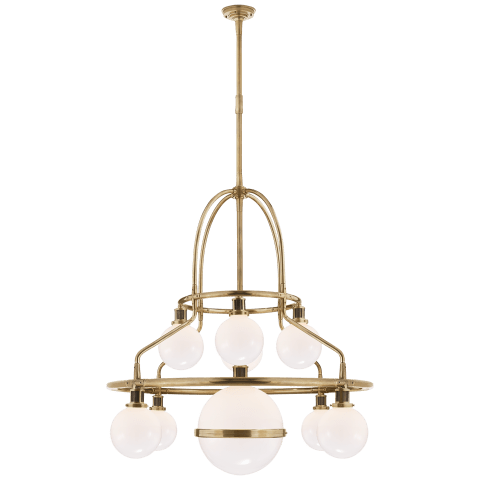 McCarren Double Tier Chandelier in Natural Brass with White Glass