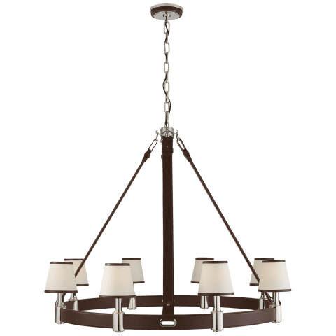 Riley Large Ring Chandelier in Polished Nickel and Chocolate Leather w/ Leather Trimmed Linen Shades
