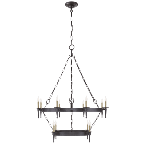 Branson Medium Two-Tiered Ring Torch Chandelier in Aged Iron