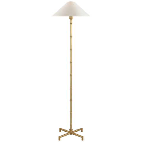 Grenol Floor Lamp in Hand-Rubbed Antique Brass with Natural Percale Shade