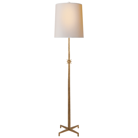 Etoile Large Floor Lamp in Gilded Iron with Natural Paper Shade
