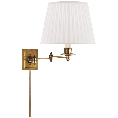 Triple Swing Arm Wall Lamp in Hand-Rubbed Antique Brass with Natural Paper Shade