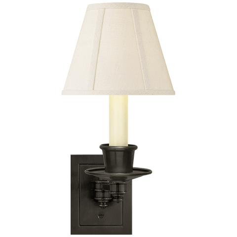 Single Swing Arm Sconce in Bronze with Linen Shade