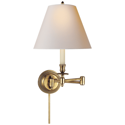 Candlestick Swing Arm in Hand-Rubbed Antique Brass with Natural Paper Shade